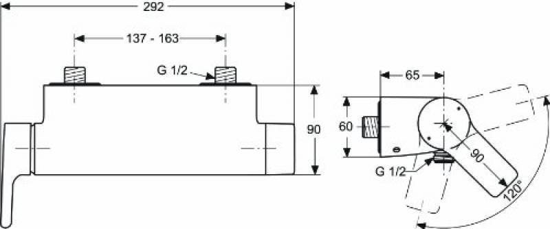 Ideal Standard a9634/00nu Cartouche Haut G1//2 180//° pour Thermostat