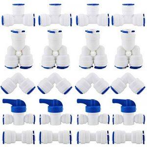 """KINYOOO RO Raccord de filtre à eau, raccord droit 1/4""""(6mm) Pushfit pour tuyau de filtre à eau, ensemble de raccords pour Réfrigérateur Tubes, (robinet combiné de type Y + T + I + L + robinet d'arrêt) de la marque KINYOOO image 0 produit"""