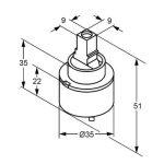 Kludi 7560500-00 Cartouche de rechange pour mitigeur monocommande avec pales en céramique Commande de 35 mm de la marque Kludi image 2 produit