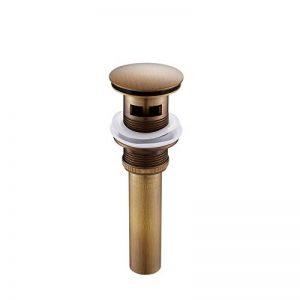 KUNGYO Bonde Pop Up Automatique Bonde Lavabo avec Trop Plein pour Evier Lavabo Pipe en Bronze Laveuse Triple Silicone Gros Couvercle 4.1cm Taille Universelle (Laiton Antique) de la marque KUNGYO image 0 produit