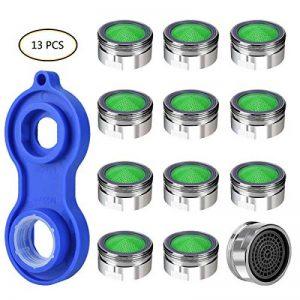 OZUAR Mousseur Lot de 12 Aérateurs de Robinet Économiseurs d'Eau Universels M24 Laiton Chromé avec une universel robinet aérateur Clé à pipe de la marque OZUAR image 0 produit