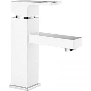 Robinet de lavabo blanc argenté mat avec bonde automatique de la marque DEANTE image 0 produit